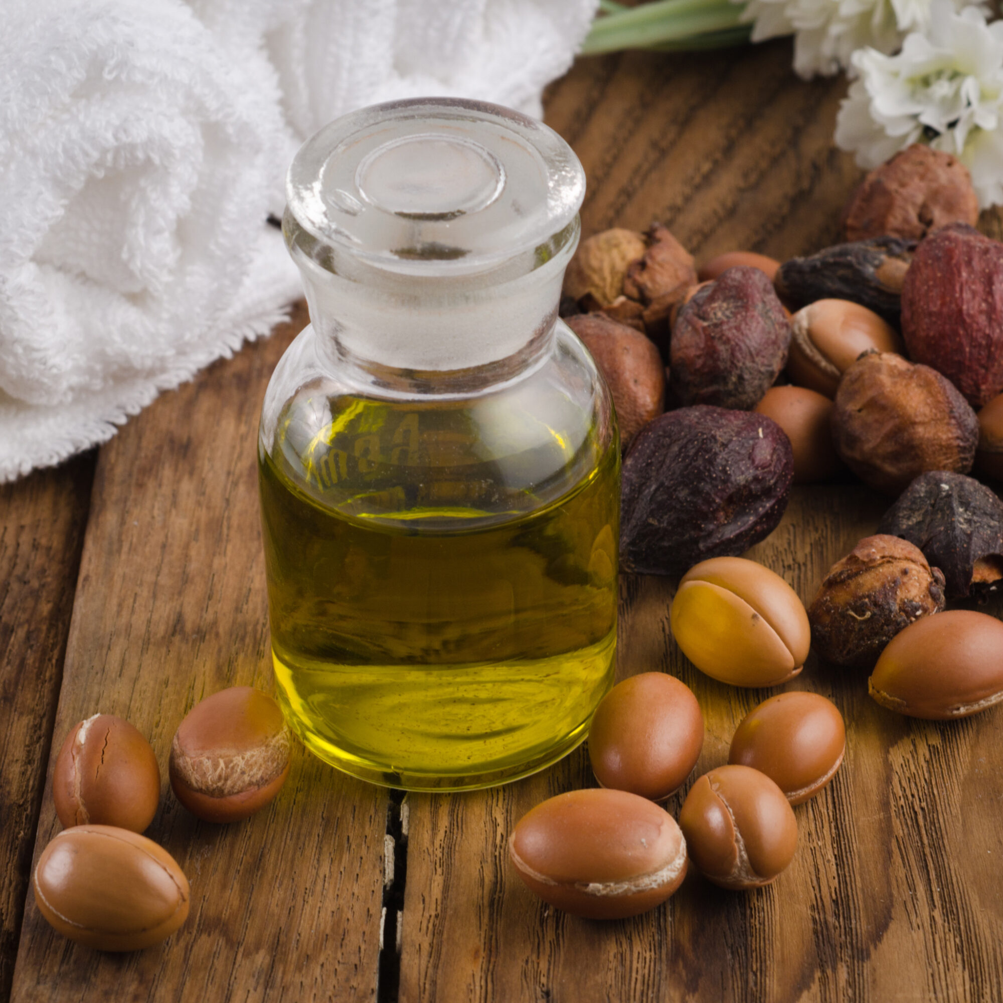 A bottle of argan oil from Morocco.