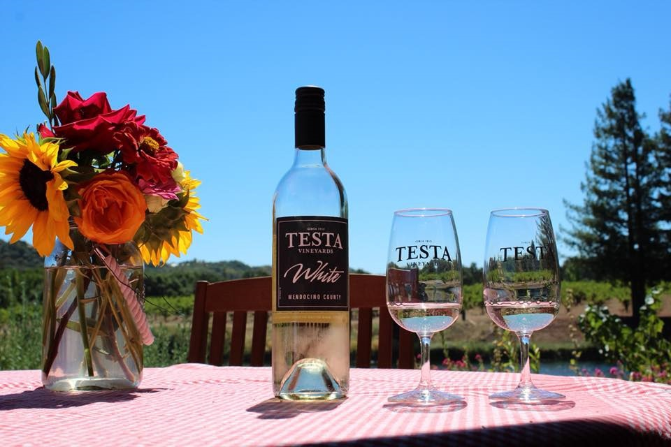 A bottle of white wine from Testa Ranch and vineyards.
