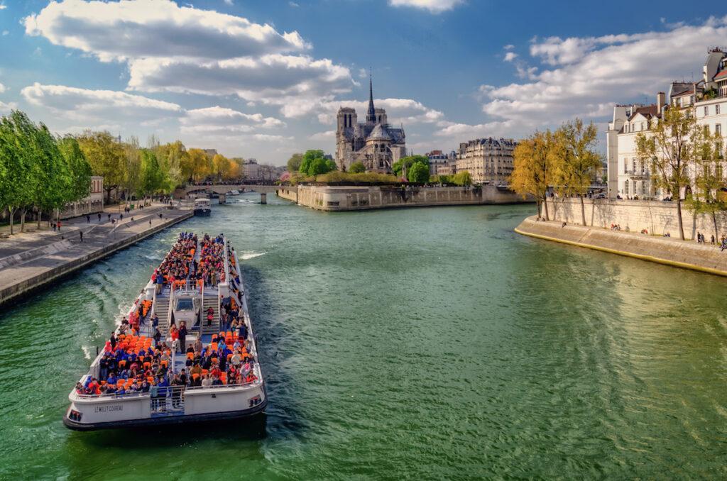 A bouat tour on the Seine in Paris, France, during April.