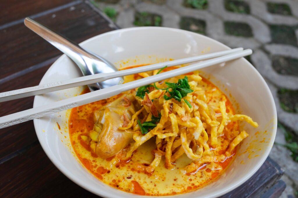 A bowl of khao soi in Chiang Mai.