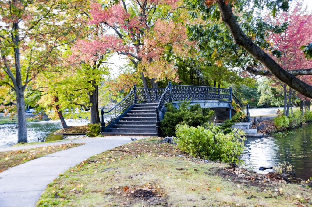 A bridge in Providence's Roger Williams Park.