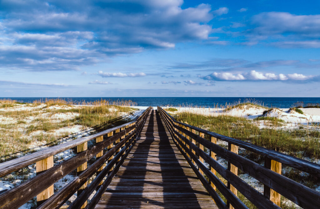 A bridge to one of the beaches in Gulf Shores, Alabama