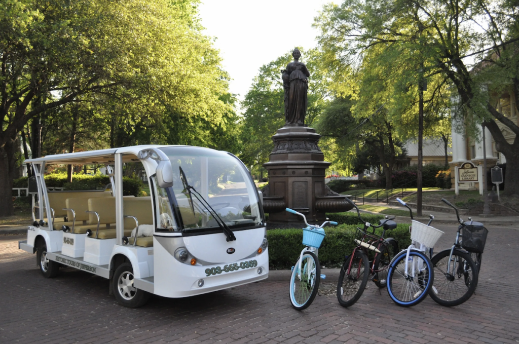 A bus and bikes for Historic Tours of Jefferson.