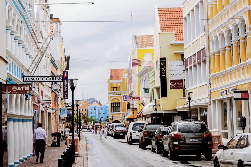 A busy, brightly colored street in Willemstad, Curacao