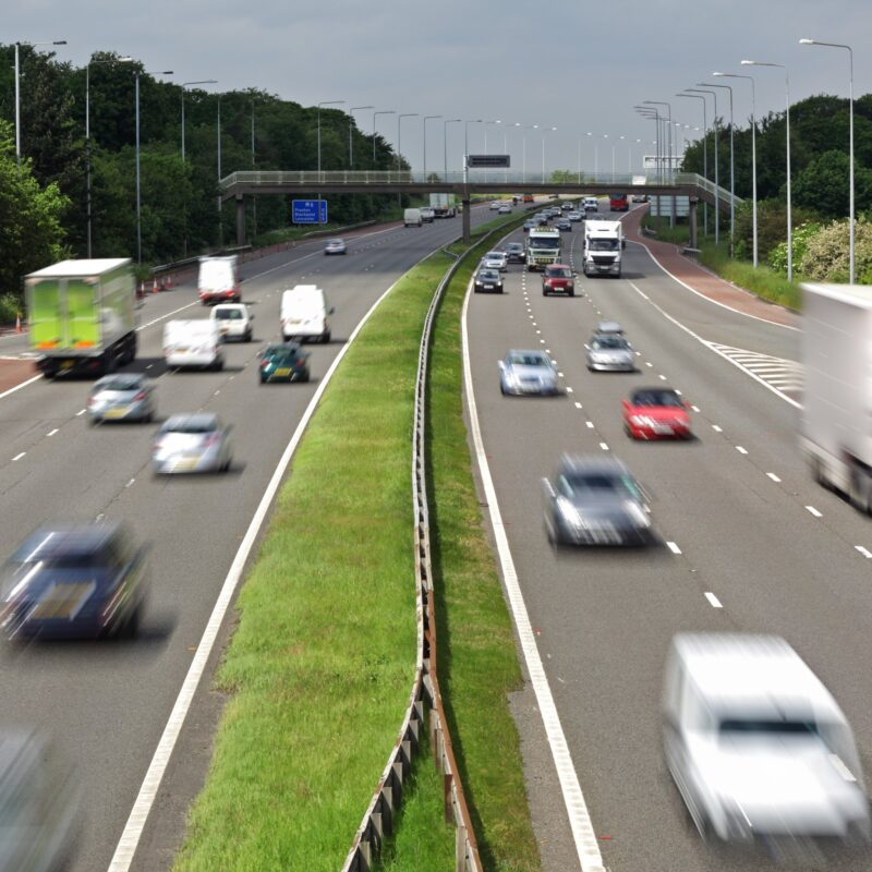 A busy motorway in England.