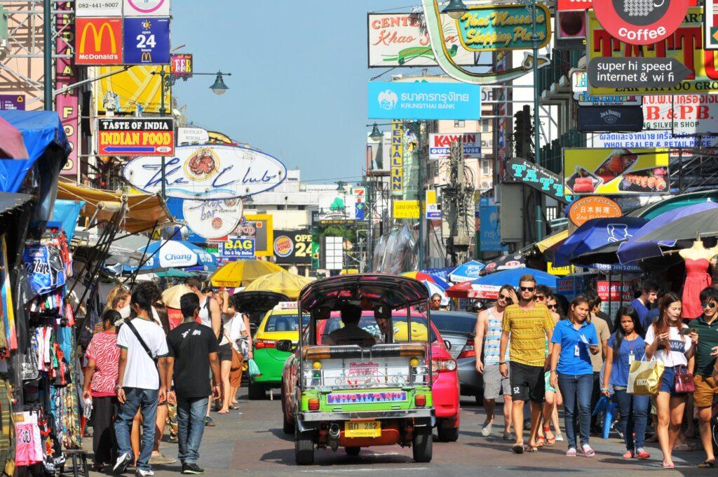 A busy street in Bangkok, Thailand.