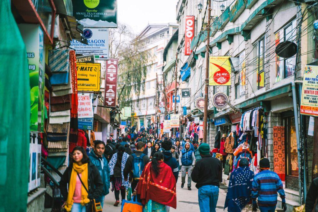 A busy street in Darjeeling.