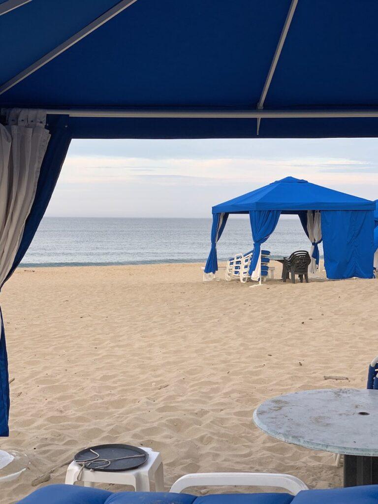 A cabana on Ballard's Beach on Block Island.