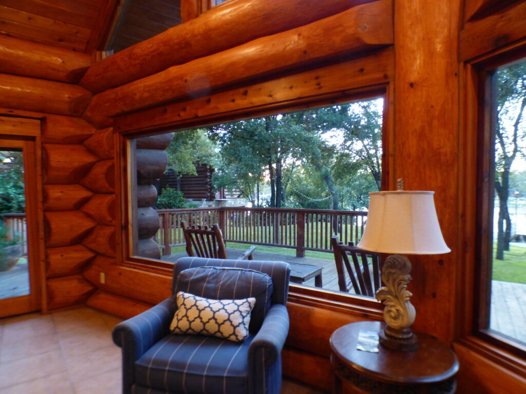 A cabin at Log Country Cove in Burnet, Texas.