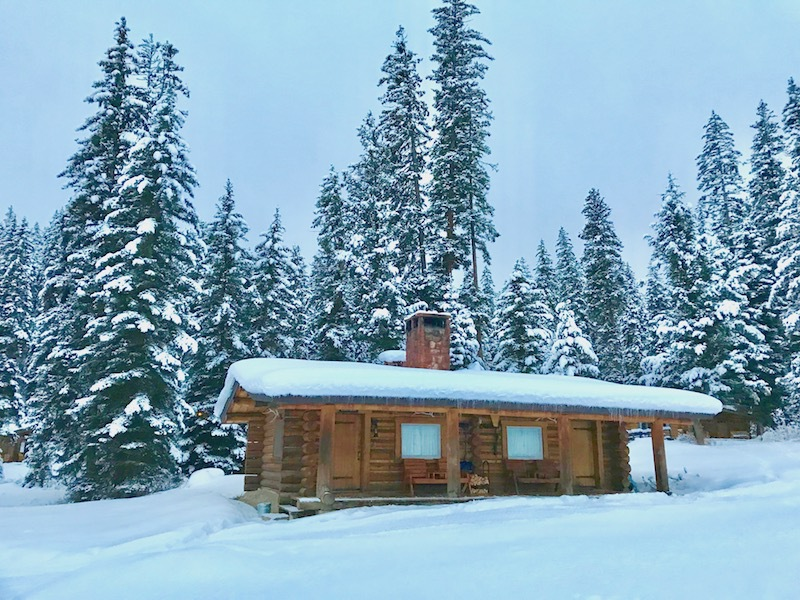 A cabin at the Lone Mountain Ranch in Montana.