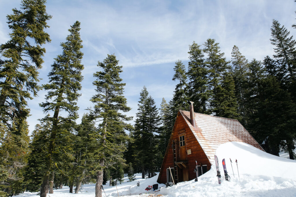 A cabin in Lake Tahoe during winter.