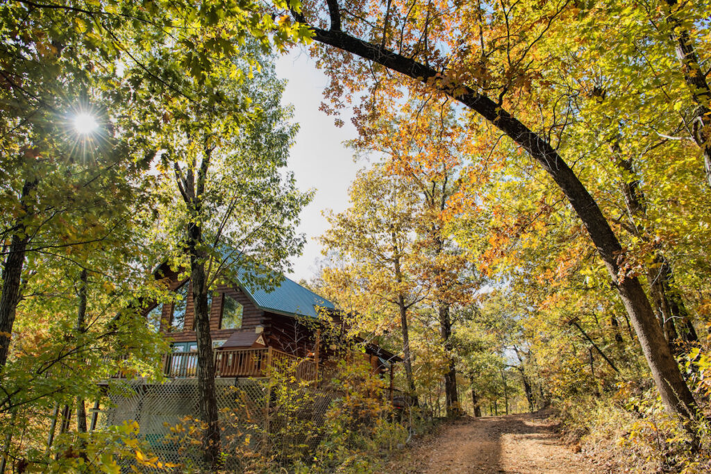 A cabin in the Ozarks during fall.