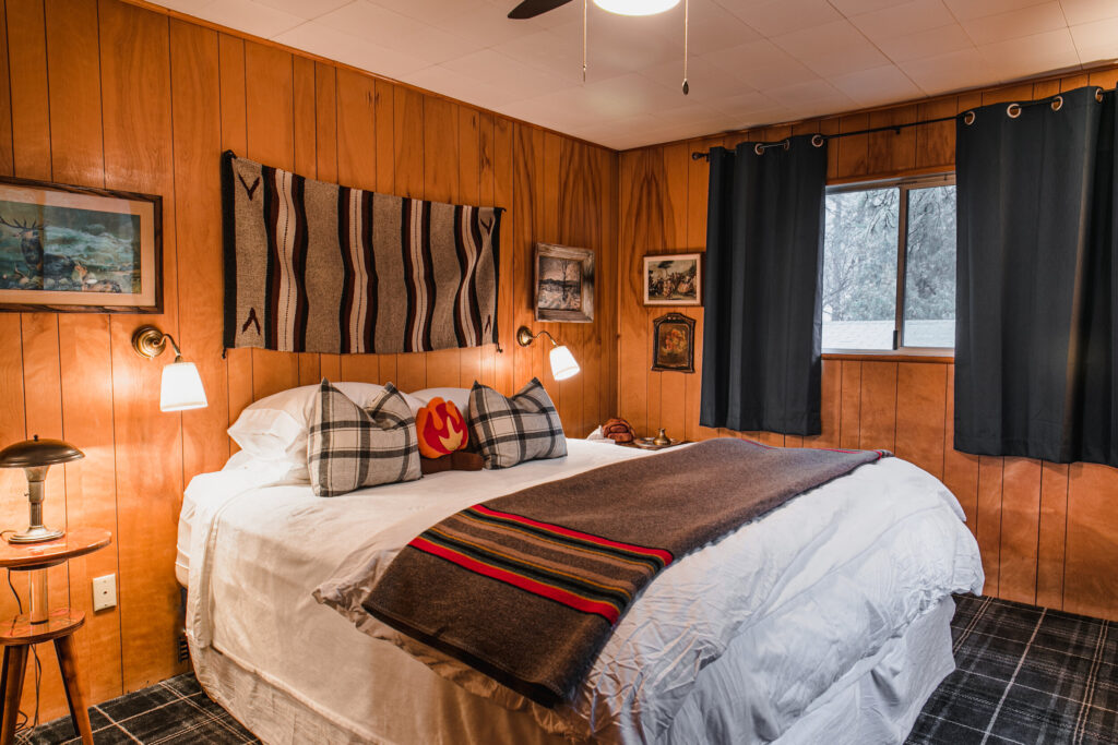 A cabin room at the Fireside Inn in Idyllwild.