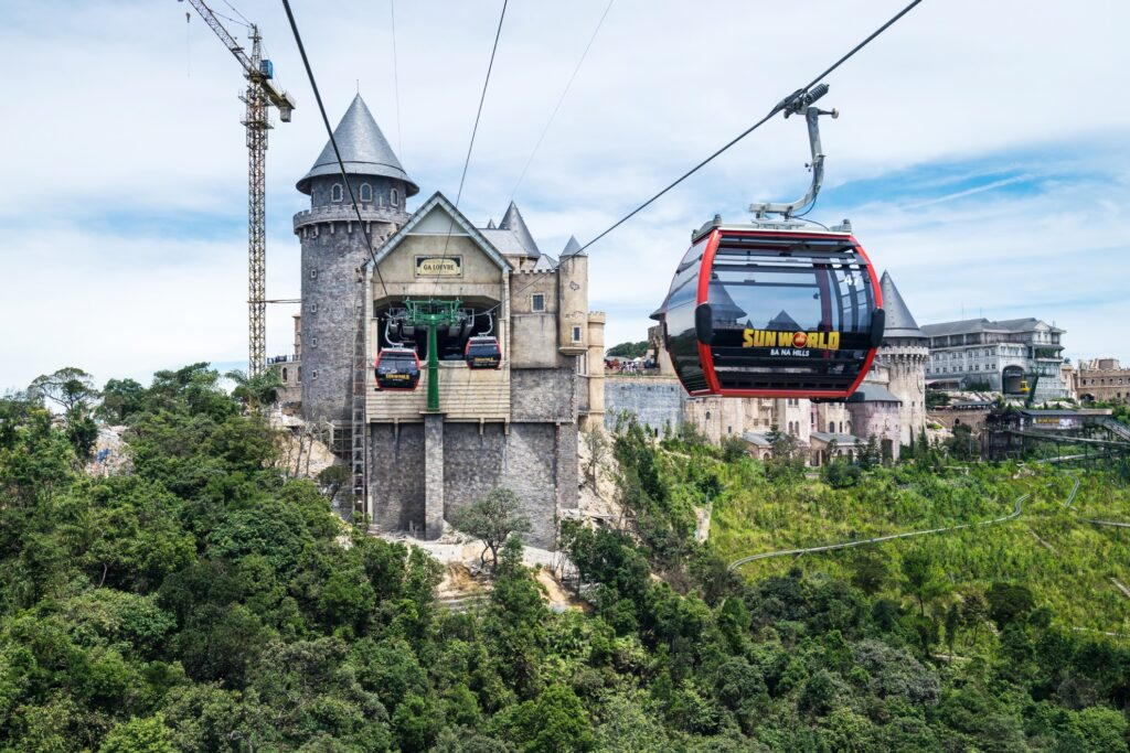 A cable car in the Ba Na Foothills.