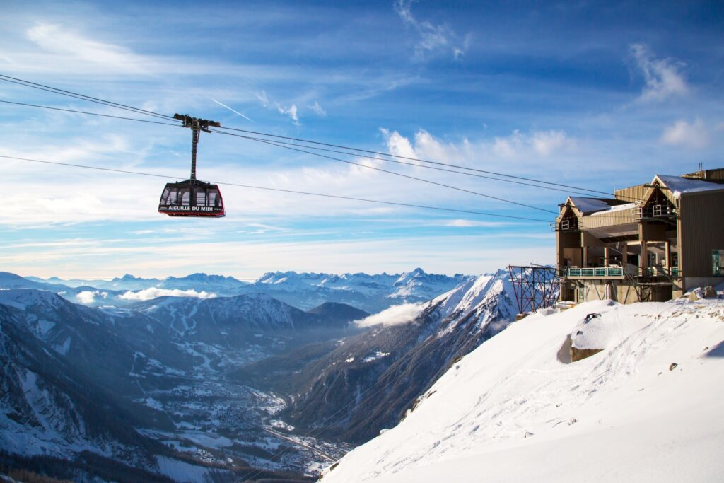 A cable car over Chamonix, France.