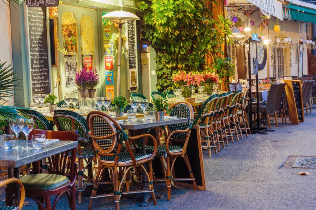 A cafe in Mougins, France.