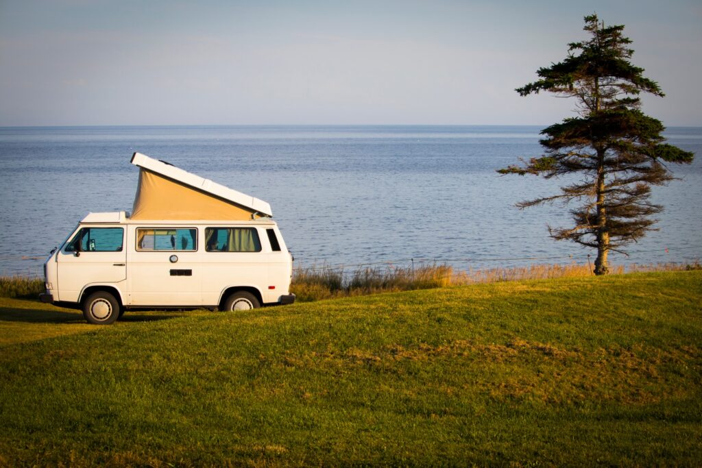 A camper along the coast of Prince Edward Island.
