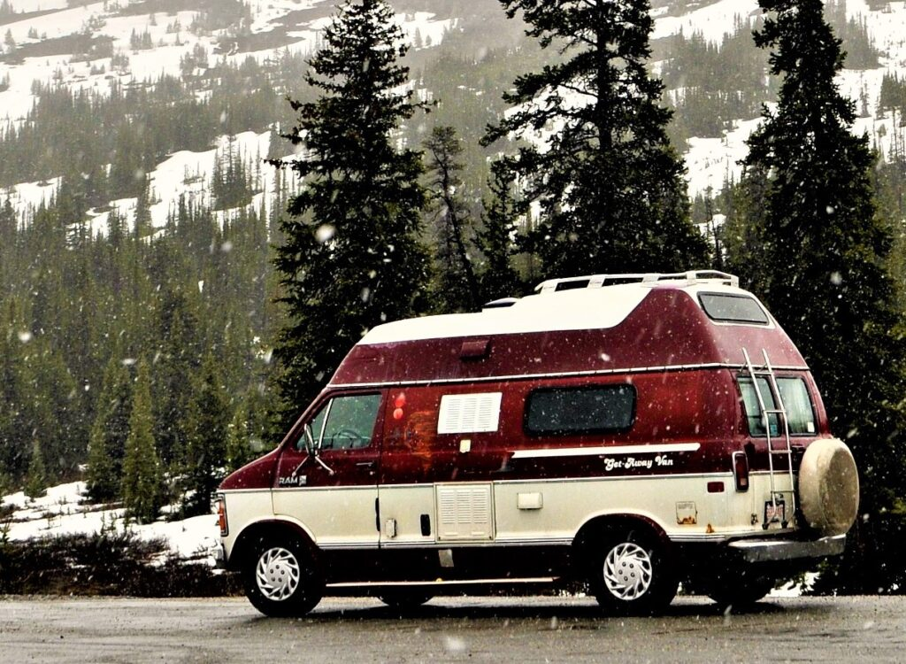A camper van in the snow.