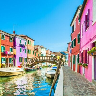 A canal in Burano, Italy.