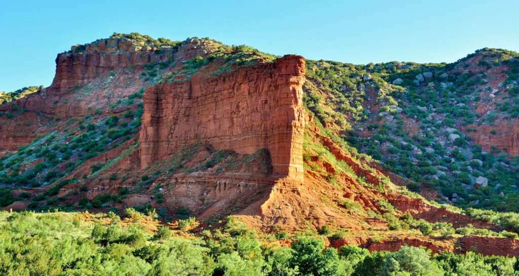 A canyon wall in Palo Duro Canyon.