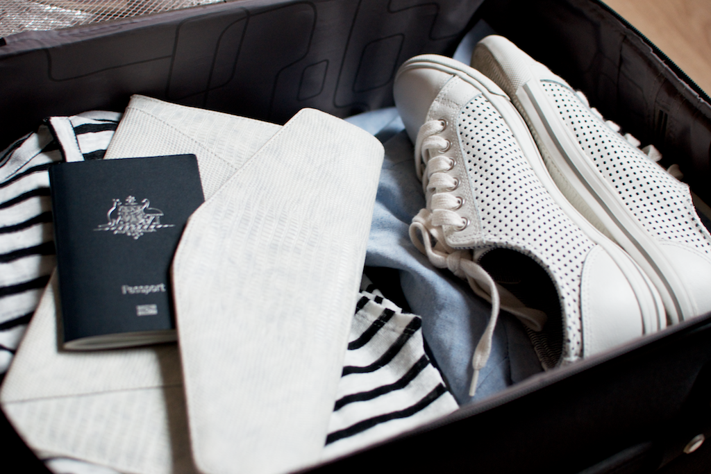 A capsule wardrobe in a suitcase.