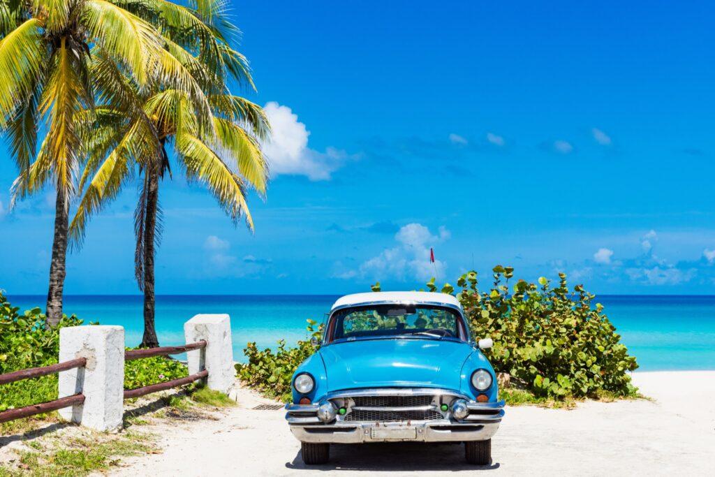 A car on a beach in Havana, Cuba.