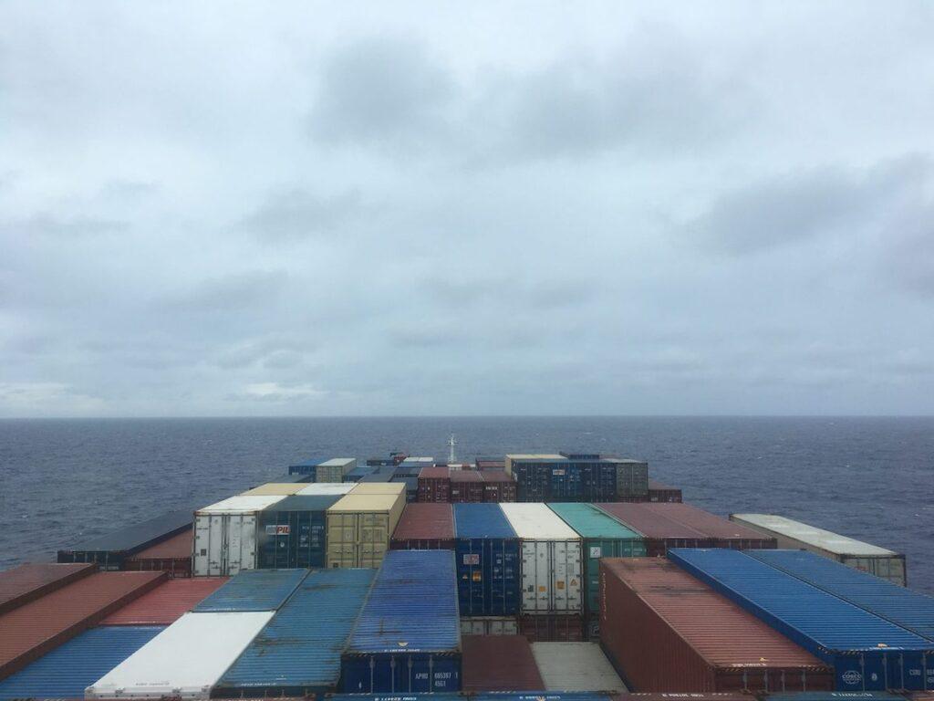 A cargo ship on the way to Australia.