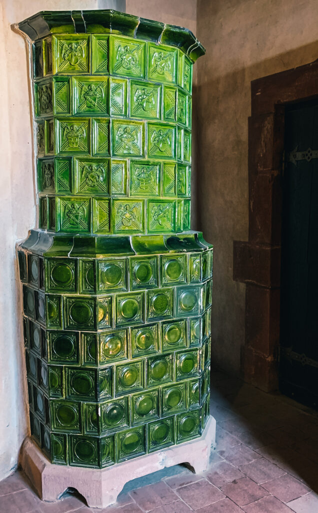 A ceramic tile heater at Haut-Koenigsbourg Castle in France.