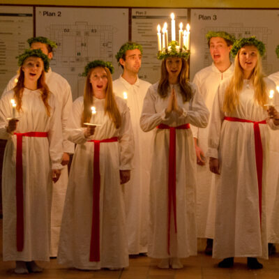 A choir singing on St. Lucia Day.
