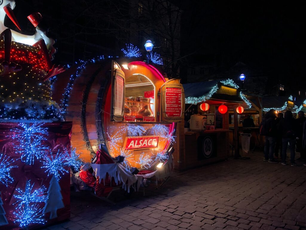 A Christmas market in Brussels, Belgium.