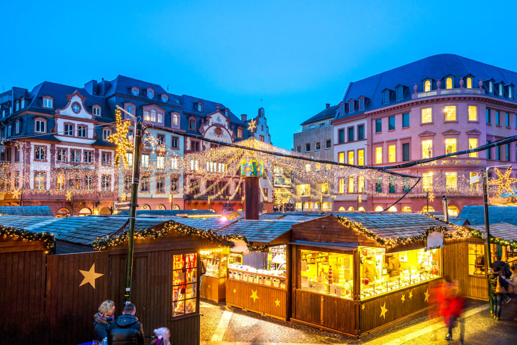 A Christmas market in Mainz, Germany.