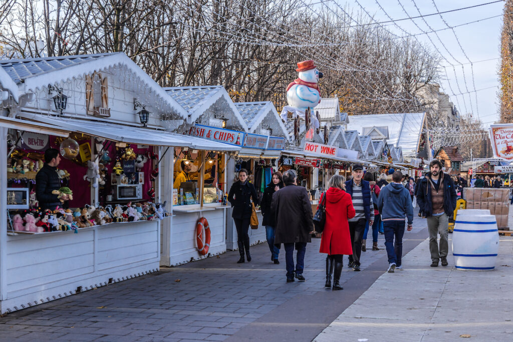 A Christmas market in Paris, France.
