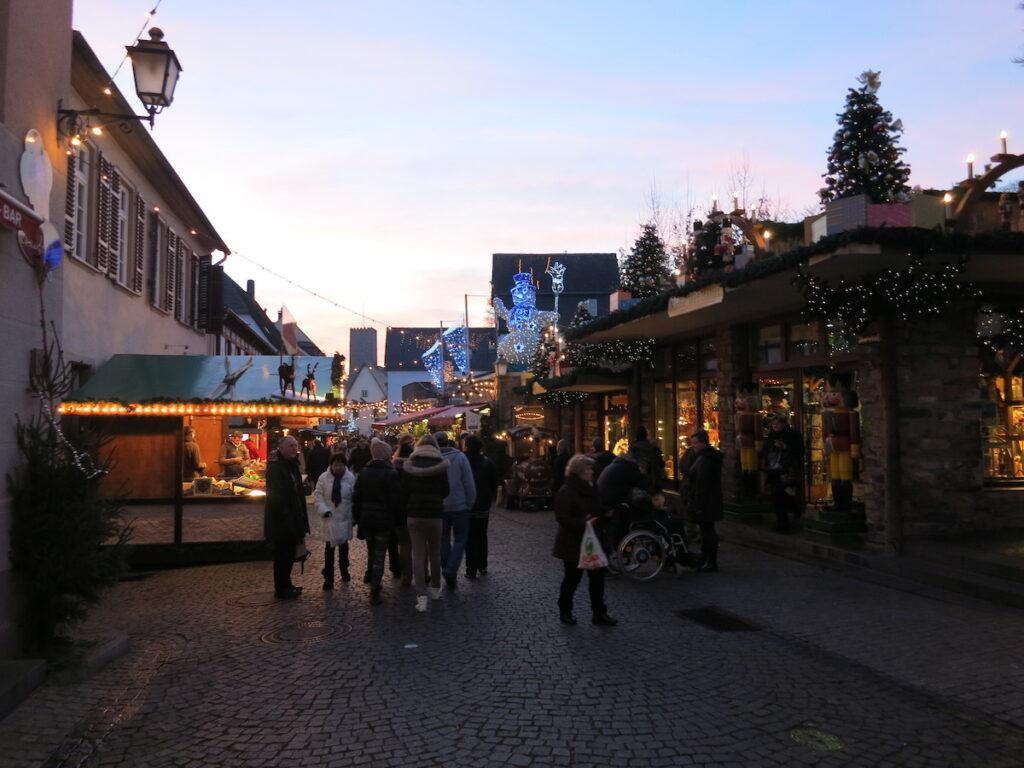 A Christmas market in Rudesheim, Germany.