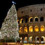 A Christmas tree at the Colosseum in Rome, Italy.