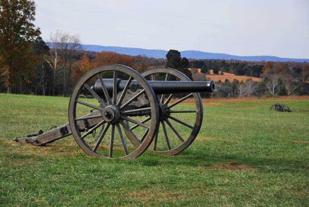 A Civil War canon at Bull Run, Virginia.