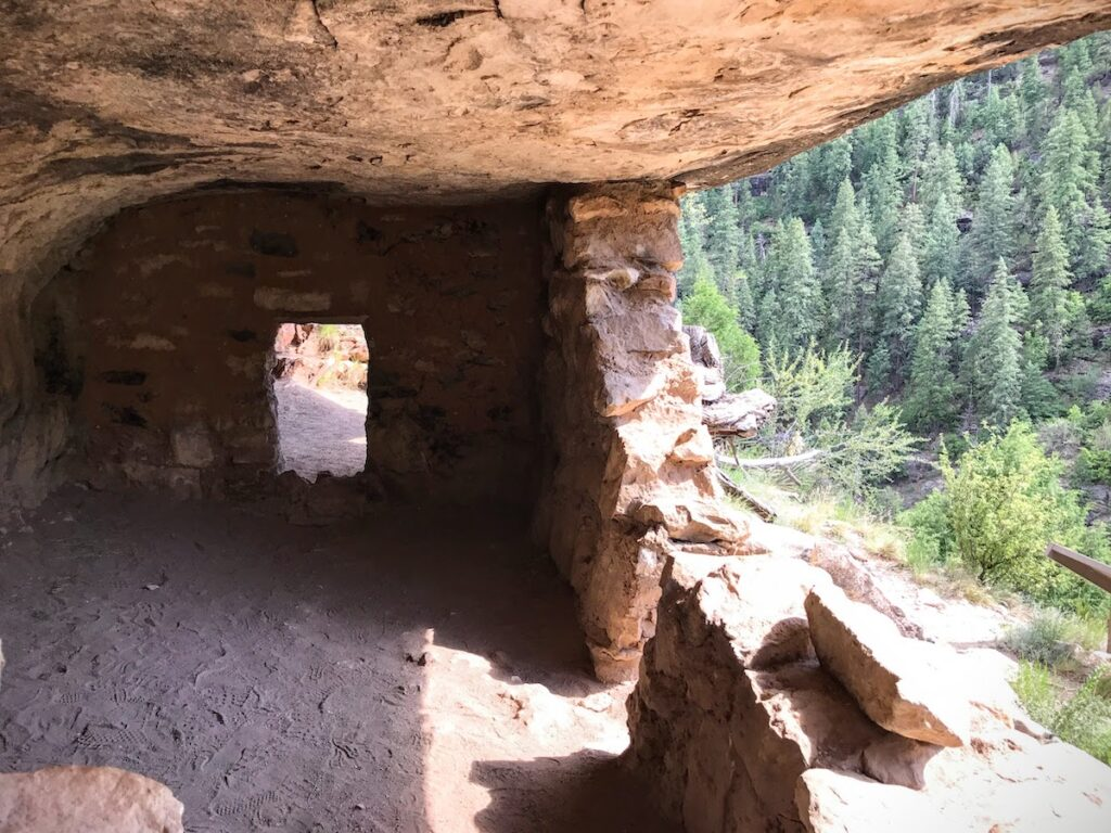 A cliff dwelling along a trail in Walnut Canyon.