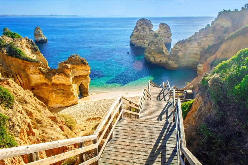A cliff walk in the Algarve region of Portugal.