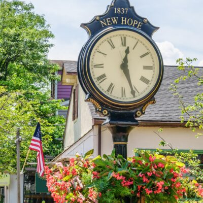 A clock in the quaint town of New Hope, Pennsylvania.
