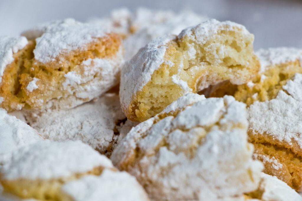 A close-up of ricciarelli biscuits.