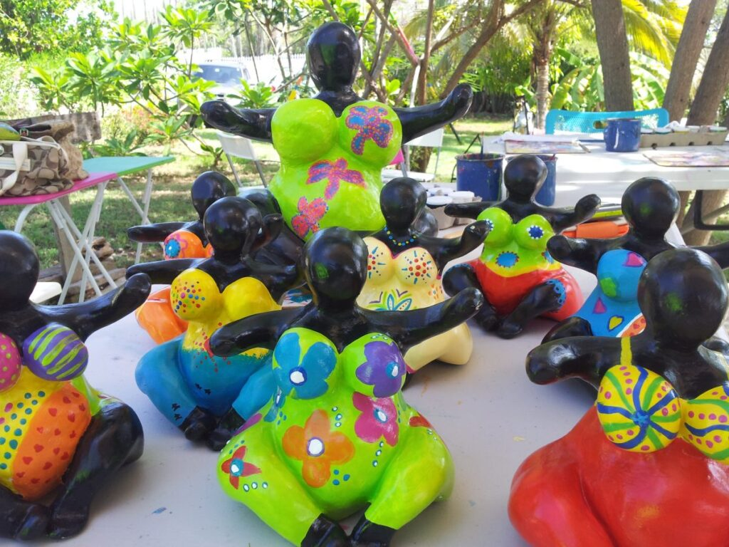 A collection of brightly colored chichi dolls