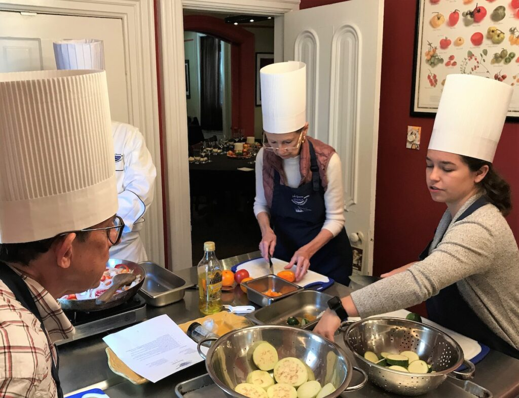 A cooking class at Lake Geneva School of Cooking.
