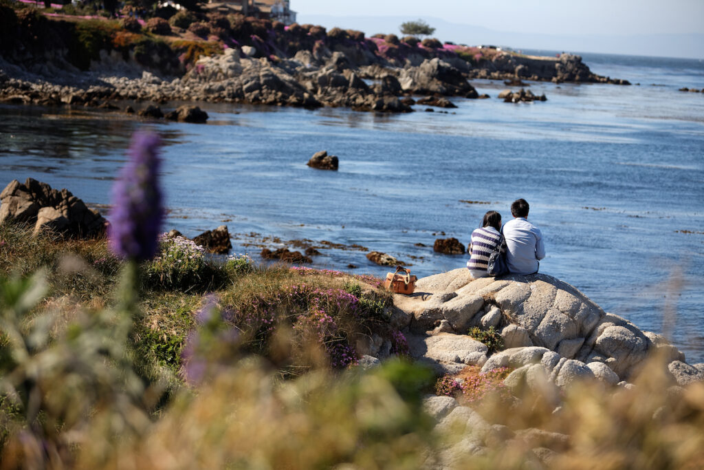 A couple at Lovers Point in Pacific Grove, California.