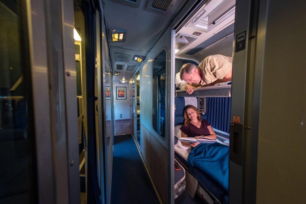 A couple on an overnight Amtrak journey.