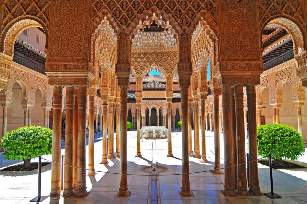 A courtyard at the Alahambra fortress.