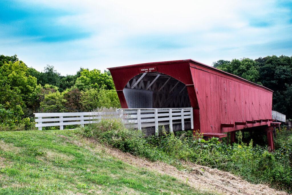 A covered bridge in Winterset, Iowa.