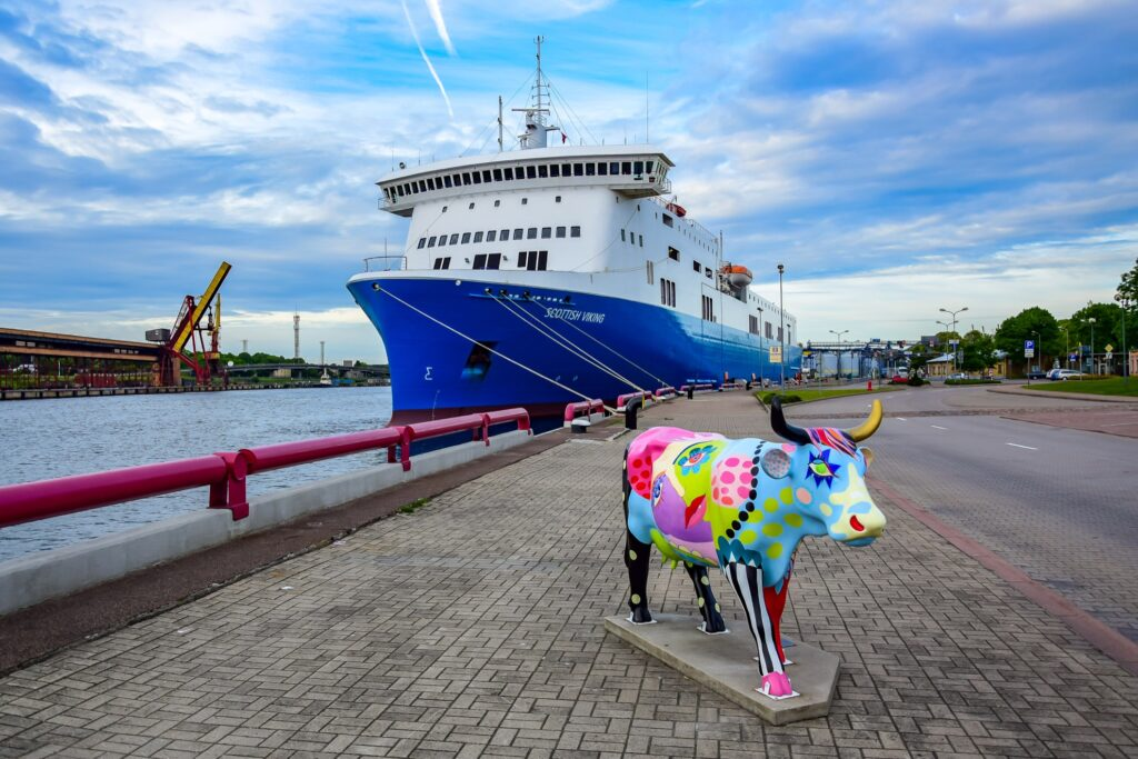 A cow statue in Ventspils, Latvia.