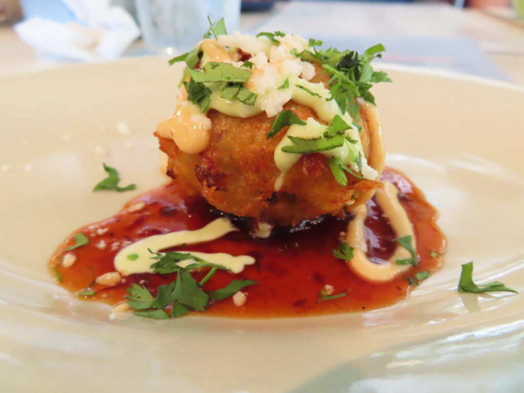 A crab fritter from Pure Taqueria.