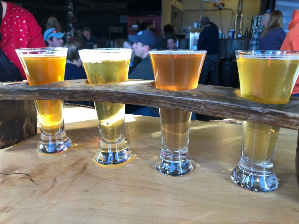 A craft beer flight from Olde Bedford Brewing Company.