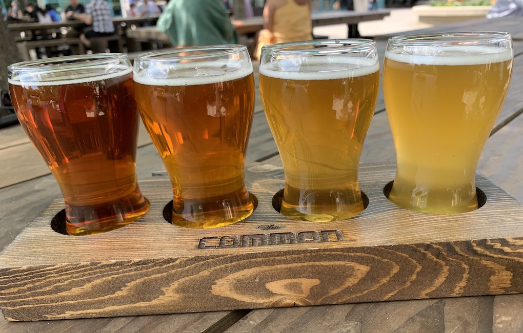 A craft beer flight from The Common at The Forks.