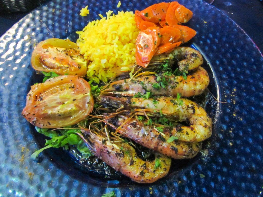 A crawfish dinner in Saint Martin.